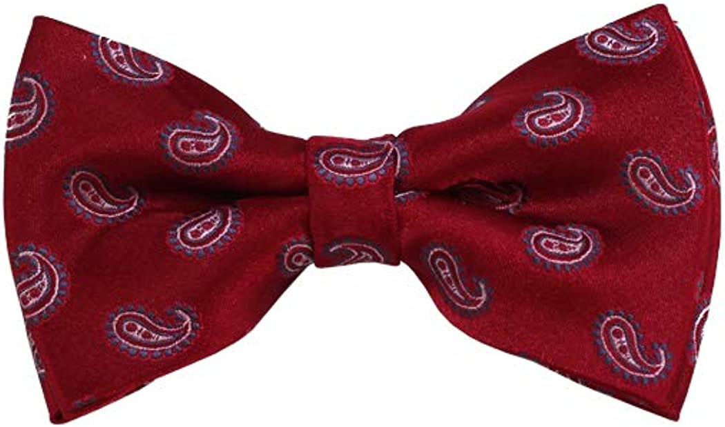 Grey, White And Red Paisley Woven Pre-Tied Bow Tie