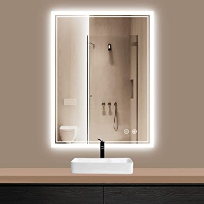 TokeShimi 24 x 32 Inch LED Vanity Bathroom Mirror Anti-Fog Dimmable Wall Mounted Makeup Mirror with Memory Function.