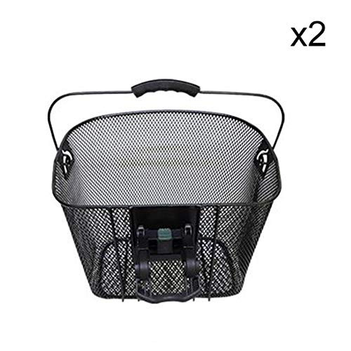Best Price! Yuehjnba Bicycle Basket 2 Pack Detachable Multi-Purpose Metal Mesh Bicycle Handle Basket...