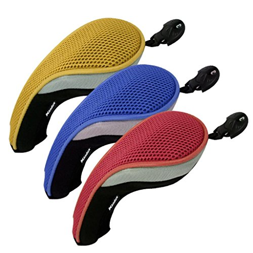 Andux 3 Pack Golf Hybrid Club Head Covers Interchangeable No. Tag MT/hy09 Red,Yellow, Blue