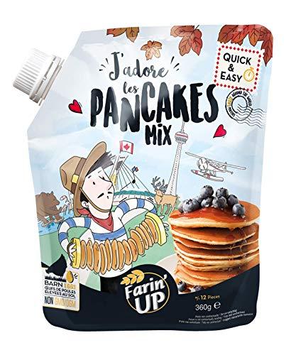 Farin'Up J'adore les Pancakes Mix, trockene Backmischung für Pfannkuchen, Pancake Mix Pulver für einfache und schnelle Zubereitung, 8 x 360 g