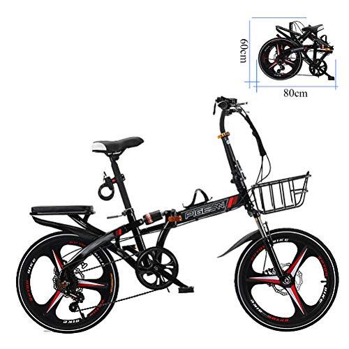 ZEIYUQI 20 Pulgadas Bicicletas Freno De Disco Bici Plegable Adulto Unisex Adecuado para El Trabajo,Negro,B