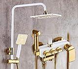 Set de ducha de pared con tres botones y un botón de oro blanco antiguo Set termostático de ducha Sistema de Ducha Ducha de Mano Set de Ducha