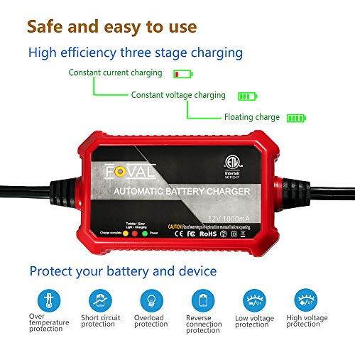 Foval Battery Charger Maintainer uses float mode. Can be used to charge various vehicles like motorcycle. 12 Volts 1 amp power consumption