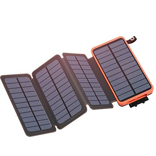 Caricabatterie Solare Portatile 25000mAh, ADDTOP Power Bank con 4 Solari Pannelli Impermeabile Batteria Esterna Dual-port USB 2.1A con LED Flashlight per iPhone, Samsung Galaxy, iPad, Smartphone