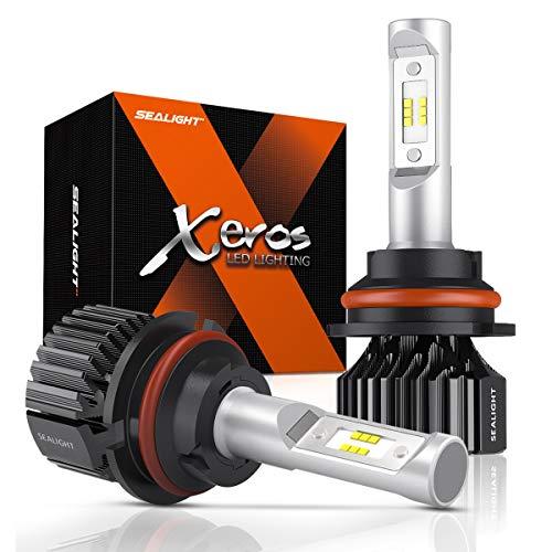 SEALIGHT 9007 LED Headlight Bulb, HB5 LED Bulb, High Low Beam, Compact Fanless Design, 6500 Lumens, 6000K Cool White, 24 CSP Chips