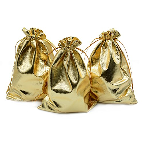 "BEAVO Pack of 100 5""x 7"" Heavy Duty Gold Drawstring Organza Jewelry Pouches Wedding Party Christmas Favor Gift Candy Chocolate Bags (5""x 7"", Gold)"