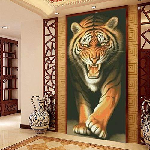 Deike Mild DIY Diamant Painting Full Bohrer 5D Handgemachtes Tiger Diamond Malerei Wohnzimmer Schlafzimmer Wanddekoration (60x100cm)