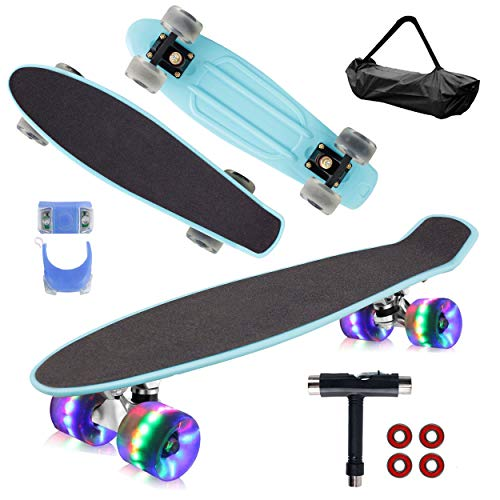"Geelife 22"" Complete Mini Cruiser Skateboard for Beginners Youths Teens Girls Boys with LED Wheels (Baby Blue)"