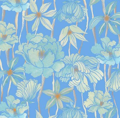 朝倉染布 風呂敷 - 約96×96cm 朝倉染布 超撥水風呂敷ながれ 平織 牡丹と菊