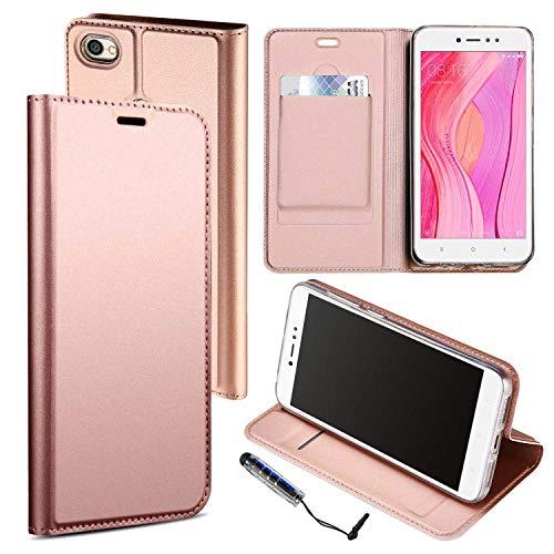 Guran® Funda de Cuero PU para Xiaomi Redmi Note 5A Prime Smartphone Flip Case Construido en TPU con Función de Soporte con Ranura para Tarjetas Estilo de Negocios Cover - Oro Rosa