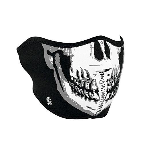 Zanheadgear Neoprene Half Face Mask, Black and White Skull Face, Glow in The Dark