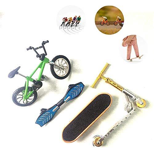 MORATER Mini-Finger-Skateboard Set, Mini Scooter, Zwei-Rad-Scooter, Kinder Lernspielzeug Finger Roller, Fahrrad-Mini-Finger-Skateboard-Set Kinder-Geschenke (Scooter zufällige Farbe),4