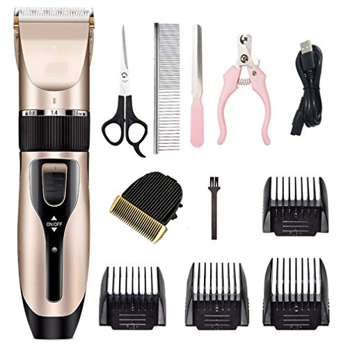 WXCC Dog Grooming Clippers Professional Pets Hair Trimmer Kit Best Animal Cordless Shaver Rechargeable Cat Lawn Mower Low Noise Cutter Head Rozor