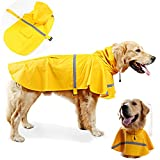 Dog Raincoat Reflective Waterproof Lightweight Adjustable Dog Rain Jacket with Hood for Medium Large Dogs,Yellow L