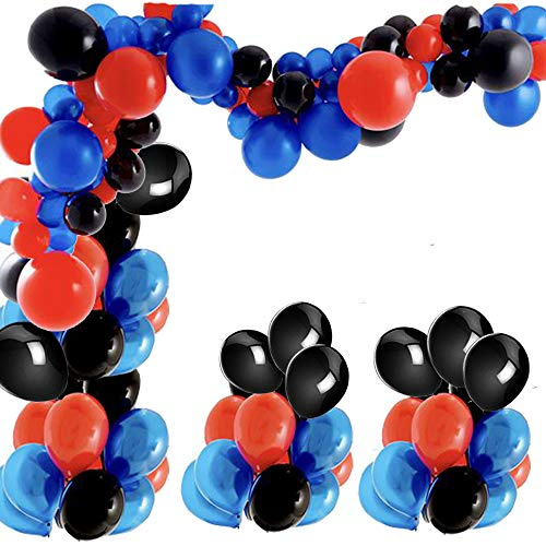 102Pcs Navy Blue Red Black Balloon Garland Arch Kit-100pcs Latex Balloons, 16 Feets Arch Balloon Decoration Strip for Spiderman Party Superhero Party Birthday Baby Shower Decorations