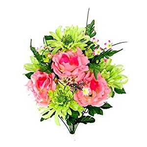 Admired By Nature 14 Stems Artificial Rose, Mum Flower with Greenery Foliage Mixed Bush for Home, Wedding, Restaurant & Office Decoration Arrangement, Pink/Celery Mix, 2 Pieces