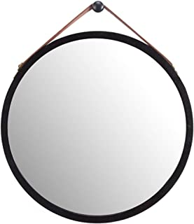 round hanging mirror leather strap
