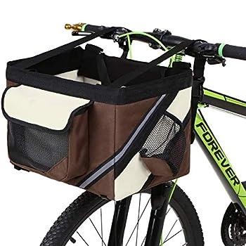 Wgwioo Panier Avant De Vélo, Panier De Vélo Amovible Pliable Sac De Transport De Chat De Chien De Compagnie pour Le Vélo Et Le Shopping,Marron