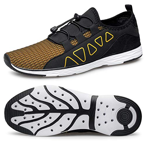 vibdiv Women's Water Shoes Quick-Drying - Aqua Shoes Outdoor for Diving Swimming Lightweight Beach Walking Shoes Black Gold 11