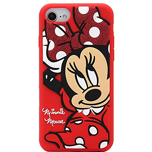 MC Fashion Cute 3D Cartoon Shockproof Case, Full-Body Slim Fit Protective Soft Silicone Case for Apple iPhone 6/6s/7/8 and iPhone SE 2020 4.7 inch (Minnie Mouse)