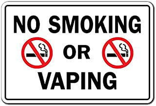 SignMission No Smoking or Vaping Business Aluminum Sign | Indoor/Outdoor | Funny Home Décor for Garages, Living Rooms, Bedroom, Offices Drugs Cigarettes Vapor Smoke Rules Signage Sign Decoration