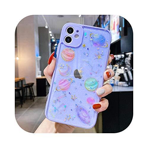 Lindo Bling Glitter Clear Case Para iPhone 11 12 Pro Max X XR XS 7 8 Plus SE 2020 Universo Impreso Cubierta Suave Para 12 Mini Bumper Púrpura Para iPhone 11 Pro