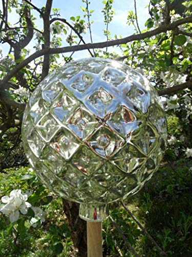 Arbrikadrex Spitzkugel FARBECHTES Glas handgefertigt Tropfenkugen Gartenkugel verspiegelt XXL Form Rosenkugel (Kugel Rautendesign, Silber)