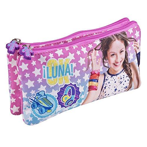 PERLETTI Astuccio Bambina Ragazza Disney Soy Luna con Stelle - Pratico portatutto con Doppia Cerniera per la Scuola e da Viaggio - 10x21x6 cm