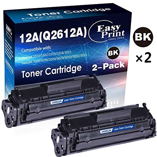 (2-Pack, Black) Compatible 12A Q2612A Toner Cartridge 2612A Used for HP Laserjet Laserjet Pro 1010 1012 1018 1020 1022 1022n 3015 3030 3050 3052 3055 M1319F Printer, by EasyPrint