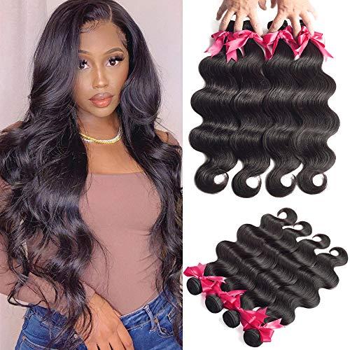 Brazilian Virgin Body Wave Hair 4 Bundles (18 20 22 24, 400g/14.1OZ, Natural Black) 100% Unprocessed Brazilian Body Wave Virgin Human Hair Extensions Body Wave