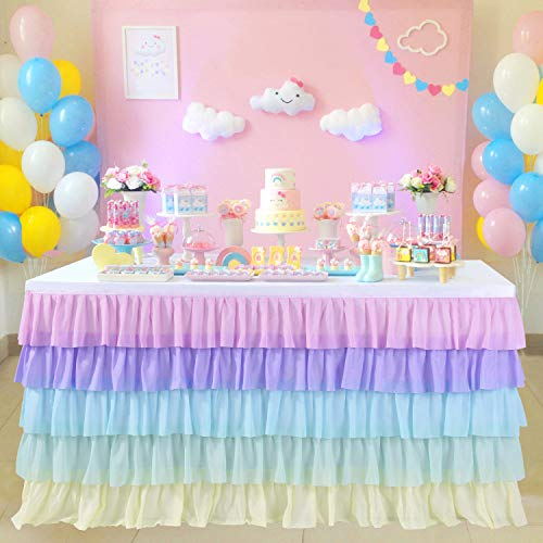 6ft Rainbow Unicorn Tutu Table Skirt for Rectangle Round Tables Chiffon Table Cloth for Unicorn Birthday Party Decorations Baby Shower Parties Ruffle Table Skirting