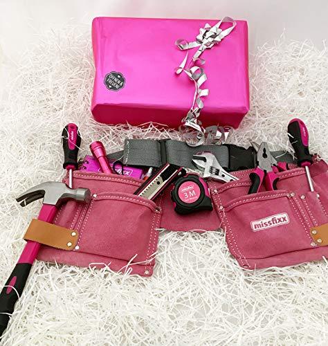 Werkzeuggürtel inkl. Werkzeug PINK mit Geschenkverpackung
