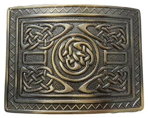 Scottish Kilt belt buckle #12 Antiqued Brass Finish (Antiqued Brass)