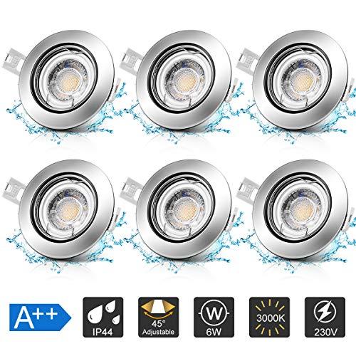 6x6W LED Badeinbaustrahler Einbaustrahler Deckeneinbauleuchte, Modul 230V, 600lm Ultra Flach Deckenstrahler Einbauspots, Einstellbarer Winkel, Dimmbar mit Gewöhnlichem Ein-/Aus-Schalter, IP44,Warmweiß