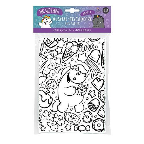 Pummel & Friends - Ausmal-Tischdecke aus Papier Pummeleinhorn, bemalbare Tischdecke Einhorn, Ausmalbilder Pummeleinhorn, Mal Mich Bunt
