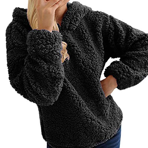 KEERADS Mode Femmes Casual Solide Épais en Peluche À Capuche Col Rond Complet Manche Chaud Jumper Survêtement Top Blouse Pull(XL,Noir)