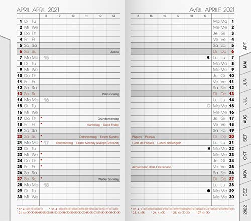 Brunnen 1075100001 Taschenkalender/Monats-Sichtkalender Modell 751 Ersatzkalendarium, 2 Seiten = 1 Monat, 8,7 x 15,3 cm, Kalendarium 2021