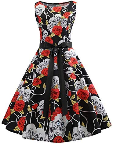 Halloween Dress Women s 1950s Retro Vintage Cocktail Party Dress Skull Rose Print Cosplay Costume product image