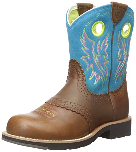 Kids' Fatbaby Cowgirl Western Cowboy Boot, Black Country Tan/Bright Blue, 4 M US Big Kid