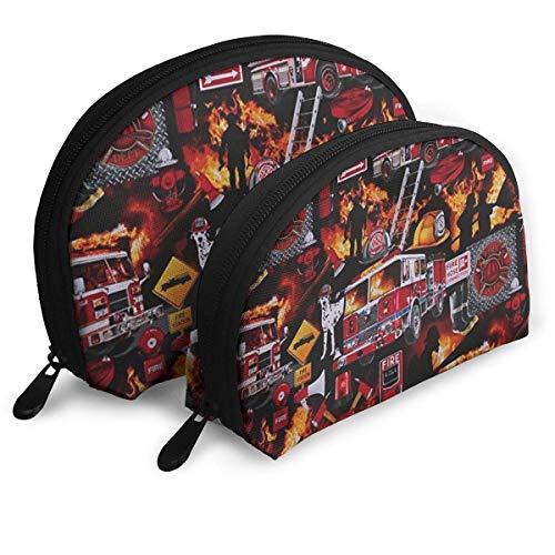 Feuerwehrmann Ausrüstung Kosmetiktasche, tragbare multifunktionale Aufbewahrungstasche Reisetasche Shell Kosmetiktasche Reißverschluss Kleine Kosmetiktasche 2 Stück