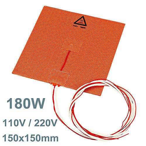 belupai 180w 150 * 150mm Silicone Heated Bed Heating Pad for 3D Printer with NTC 100K & Glue - 220V