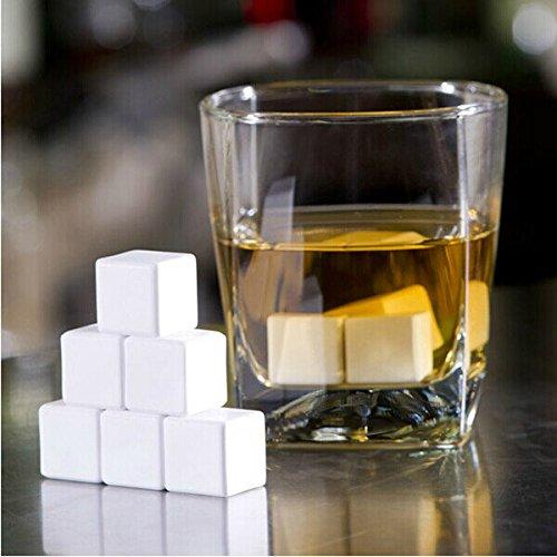 Bazaar 4 stuks keramiek whisky kubus ijsblokjes whisky whisky stenen koelstenen