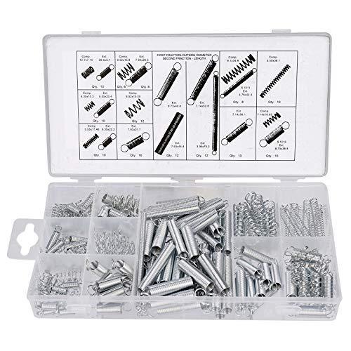 200 Stück Federn Sortiment Zugfedern und Druckfedern aus Verzinkte Federstahl Feder Set mit Aufbewahrungsbox 20 Größen
