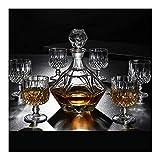 WJJ Botella de Whisky Cristal Whiskey Jarra y Vasos, Decorado con 100% de Plomo Copa de Whisky la Jarra de 800 ml con Estilo único Perfectamente Caja de Regalo de 7 Piezas Decantadores de Vino