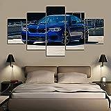 Lienzo 5 uds Bmw M5 competición coche pared arte póster imágenes pinturas decoración del hogar accesorios sala de estar decoración 150 * 80Cm Framel