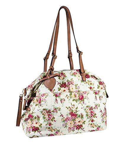 SIX Shoppingbag aus Canvas mit Blumenmuster und längenverstellbaren Henkeln (726-747)
