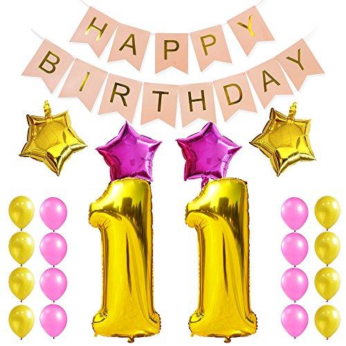 KUNGYO Dulce Fiesta de Cumpleaños Kit Decoraciones Happy Birthday Bandera Rosada; Número 11 Mylar Foil Globo 16 Piezas Rosa Oro Globo de Látex Estrella para Cumpleaños de 11 Años