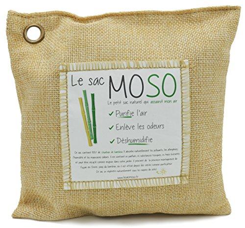 Le sac MOSO Version 500 GR - Purificateur d'air, Désodorisant, Absorbeur d'humidité, Naturel et sans Odeur au Charbon de Bambou - 500 GR (Paille)