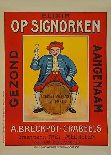 Vintage bieren, wijnen en sterke drank 'Op Signorken', Belgium, 250gsm Zacht-Satijn Laagglans Reproductie A3 Poster